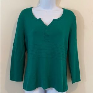 Cable & Gage Long Sleeve V-Neck Shirt  Sz L